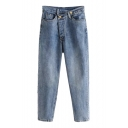 Chic Asymmetric Offset Button Placket Faded Tapered Jeans