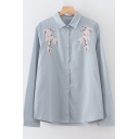 Floral Embroidered Button Placket Lapel Collar Long Sleeve Regular Shirt