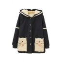 Sherpa Cat Pattern Patch Pocket Long Sleeve Button Front Hooded Coat