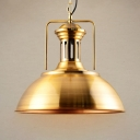 Modern Style Metal Dome Shade Ceiling Pendant Light in Gold Finish with Adjustable Chain