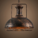 Retro Style Dark Rust Finish Dome Shade Pendant Light, Wire Caged, 2 Sizes for Option