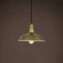 Industrial Style 1 Bulb Hanging Pendant Light Fixture with Heritage Brass Barn Shade 14.17