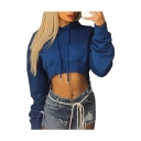Drawstring Hood Plain Long Sleeve Cropped Hoodie