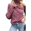 High Neck One Shoulder Plain Long Sleeve Sweater