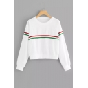 Contrast Striped Patched Round Neck Long Sleeve Sweatshirt
