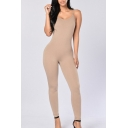 Plain Skinny Spaghetti Straps Sleeveless Leisure Jumpsuit