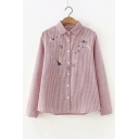 Cartoon Star Embroidered Striped Printed Lapel Collar Long Sleeve Button Front Shirt