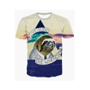3D LIVE SLOW Letter Sloth Printed Round Neck Short Sleeve T-Shirt