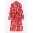 Tie Front Notched Lapel Collar Floral Printed Long Sleeve Tunic Coat