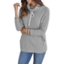 Long Sleeve Drawstring High Neck Leisure Sweatshirt