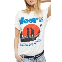 DOORS Letter Character Printed Round Neck Short Sleeve T-Shirt