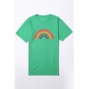 Casual Rainbow Bridge Printed Round Neck Short Sleeve Tee