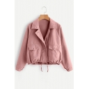 Notched Lapel Collar Plain Drawstring Hem Long Sleeve Cropped Jacket