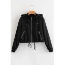 Zip Up Long Sleeve Drawstring Hem Plain Cropped Hooded Jacket