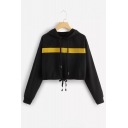 Color Block Patchwork Long Sleeve Drawstring Hem Cropped Hoodie