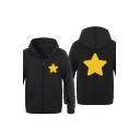 Star Printed Long Sleeve Zip Up Casual Hoodie