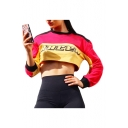 Color Block Letter Printed Round Neck Long Sleeve Cropped Sweatshirt