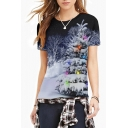 Snow Forest Printed Round Neck Short Sleeve T-Shirt