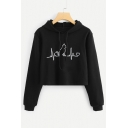 Chic Cat Heart Print Long Sleeve Cropped Hoodie