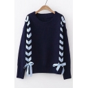 Plaid Straps Lace-Up Front Round Neck Long Sleeve Sweater