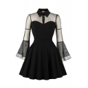 Sheer Mesh Patchwork Lapel Collar Flare Sleeve Mini A-Line Dress