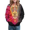 Color Block Geometric Lion Print Long Sleeve Unisex Hoodie