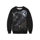 Skull Unicorn Moon Print Round Neck Long Sleeve Pullover Sweatshirt