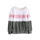 Round Neck Color Block Long Sleeve Plush Sweatshirt