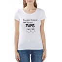YOU CAN'T SCARE ME Letter Cartoon Print Round Neck Short Sleeve T-Shirt