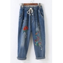Drawstring Waist Faded Floral Embroidered Distressed Detail Cropped Jeans
