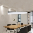 Modern Minimalist Lighting Ultra-thin Linear Led Pendant Acrylic Lampshade in Black Finish Glare-free illumination 16W-24W, 3000K-6500K Decorative Led Offfce Meeting Room Dining Room Kitchen Island Lighting