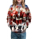 3D Comic Santa Claus Printed Long Sleeve Leisure Hoodie
