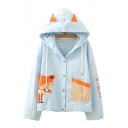 Button Front Fox Embroidered Contrast Pocket Long Sleeve Hooded Jacket