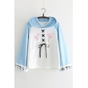 Floral Embroidered Lace Up Front Color Block Japanese Printed Long Sleeve Hoodie