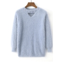 Pearl Diamante Round Neck Hollow Out Front Long Sleeve Faux Cashmere Sweater