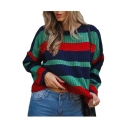 Chic Loose Round Neck Color Block Striped Long Sleeve Cropped Sweater