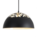 Creative Home Decoration Black Hollowed-out Dome Shade Single Bulb Ceiling Pendant Lamp for Restaurant Dining Room