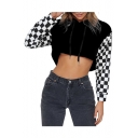 Chic Contrast Plaid Long Sleeve Cropped Hoodie