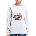 FAMILY Letter Cartoon Character Printed Round Neck Long Sleeve Sweatshirt