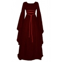 Round Neck Flare Sleeve Plain Maxi A-Line Party Dress with Rope