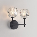 Suspenders Wall Sconce Post Modern Minimalist Flower Shaped LED Wall Light 10W 2 Bulb Clear Glass Sconce Lights in Gold/Black Finish for Bedroom Living Room Hotel