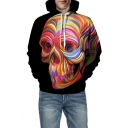 3D Colorful Skull Print Long Sleeve Hoodie