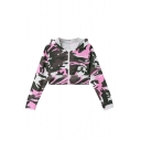 Camouflage Print Long Sleeve Zip Placket Crop Hoodie