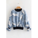 Crane Print Contrast Trim Round Neck Long Sleeve Sweatshirt