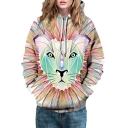 Feather Tiger Print Long Sleeve Casual Hoodie