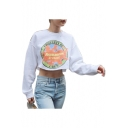 Fashion Graphic Printed Round Neck Long Sleeve Crop Sweatshirt