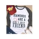 DIAMONDS Letter Baseball Printed Round Neck Color Block Long Sleeve Tee