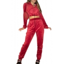 Zipper Front Long Sleeve Crop Hoodie with High Waist Leisure Pants Co-ords