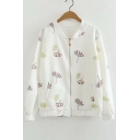 Leaf Printed Zip Closure Stand Up Collar Long Sleeve Baseball Jacket