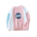 NASA Letter Painting Printed Color Block Round Neck Long Sleeve Sweatshirt